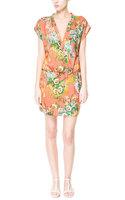 Flower Printed Chiffon Dress For Women Short Bat-wing Sleeves Elastic Waist Loose Plus Size Summer Casual Clothing Orange