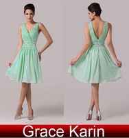 2014 New Arrival Grace Karin A-line Beaded Sleeveless Chiffon Pleated Wedding Party Formal Prom Short Evening Dress AL16 CL6104
