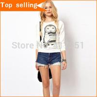 Top selling 2014 Fashion casual t shirt women owl t shirt long sleeve Women's Tops Tees women clothing XS S M L  free shipping
