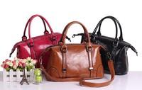 Fashion women's handbag genuine oil wax skin leather motorcycle messenger bag retro luxury lady tote Vintage women shoulder bag