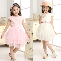1PC Kids Girls Dress Summer Short Sleeve Rose Floral Tutu Party Dress Clothes Dropshipping Freeshipping