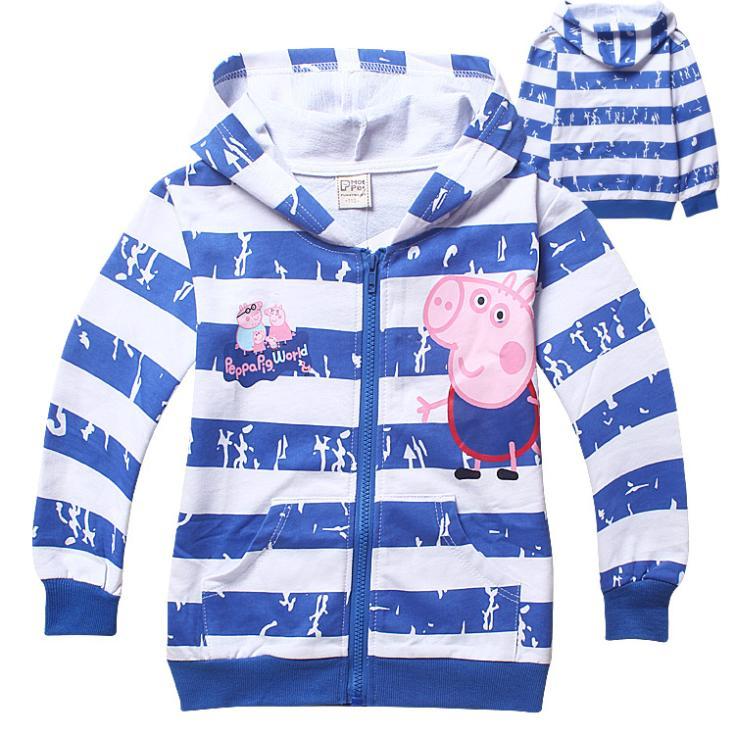 autumn new 2014 peppa pig cartoon children outerwear long sleeve striped boy coat retail fashion kids jackets(China (Mainland))