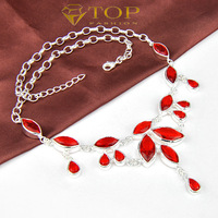 Top fashion  jewelry new 2014 red garnet necklaces for women wedding jewelry  925 sterling silver plated