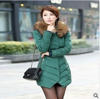 2014 female winter with a hood fur collar slim medium-long down cotton-padded jacket wadded jacket Parka For Women #C47735