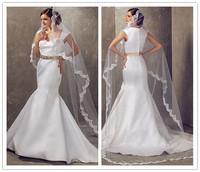 Free Shipping Charming Sweetheart  New Arrival 2014 White Ivory Design Belt Mermaid Wedding Dresses OE1132