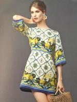2014 New Arrival Women Summer Elegant Luxury Brand Style Dress Sicilian Half Sleeve Lemon Print Vintage Evening Party Dress