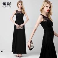 2014 New Elegent Black Evening Dress Long Vest Slim Evening Gown for Banquet Floor-length Lace Girls Party Dresses