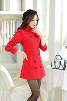 Women in the autumn and winter long slim female woolen overcoat female
