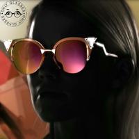 2014 New Fashion Summer cat eye sunglasses crystal Coating Triangle Diamond reflective glasses Vintage Women Brand Designer