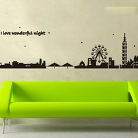 AY925 free shipping DIY I love wonderful night city building windmill wall sticker PVC waterproof decal household 90*60cm