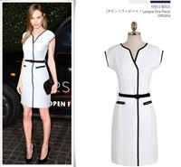 2014 Summer Short Sleeve V-neck Knee-length Bodycon Elegant Pencil Dress Fashion Ladies' Wear To Work Novelty Party Dress
