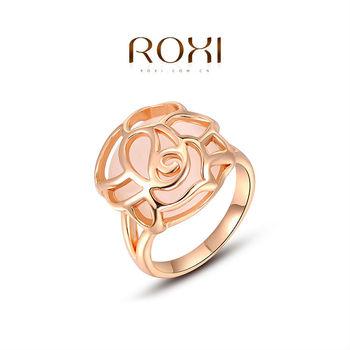 Roxi элегантное женское кольцо ручной работы, выполнено из розового золота с трех разовым золотым напылением, украшенное топалом, выполнено в виде цветка, 100% ручная работа