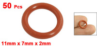 50 Pcs Red Silicone O Ring Seal Washers Gaskets 11mm x 7mm x 2mm