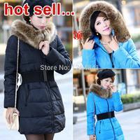2014 New winter jacket women, fashion fur collar winter coat women, high-quality down jacket, down & parkas Free shipping
