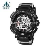 2014 New Fashion Alike Green LED Light Analog Digital Watch Women Men Sports Watches 50M Waterproof Rubber Military Wristwatch