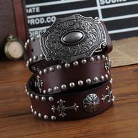 Vintage Palace Carving Belt Buckle Cross/ Rivet Punk Belts For Men/Women Brand Genuine leather Belts 2014 Designer Cinto Belt.