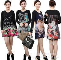 10 Colors!2014 New Long Sleeve Vintage Dots Print Dress for Women Cashmere Casual Big Plus Size Woman blouse Flower Floral Tunic
