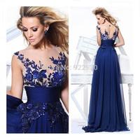 Fashion European Long Blue applique Prom Gown Evening / Formal / Party / Prom Dress SZ6-16 FAST DHL Fedex EMS