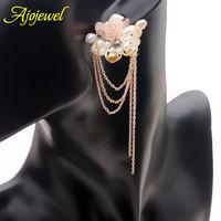 Romantic flower earrings Austrian crystal long chain tassel pearl earrings gold plated