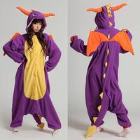 Festival Carnival Novelty Animal Anime Purple dragon Autumn & winter hooded pajamas,unisex Halloween party Cosplay Costume