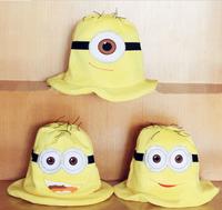 Retail Sale Kids Hat Cartoon Hat Despicable Me Yellow Hat Smile Children Cap 2014 Autumn New Fashion Glasses BOys Cap