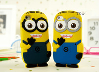Fashional 3D cute cartoon Soft Rubber silicon Despicable Me Yellow Minion Case Cover for ipod touch 4