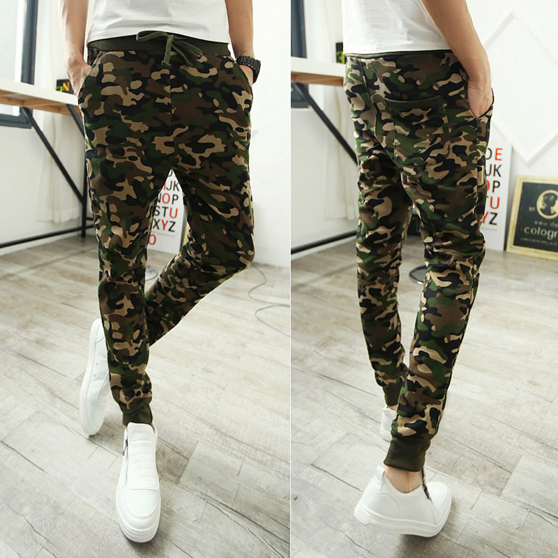 2014 NEW silm fit bandana pants hip hop harem sweatpants camo military camouflage sarouel pants men parkour sport track trousers(China (Mainland))