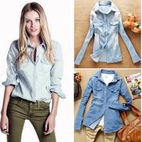 Hot sale European style women denim blouse slim jeans shirt lady's elegant quality ladies blouse 2014 spring fashion blouse