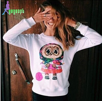 New Autumn Winter 2014 Tracksuit Women Sweatshirt Casual Owl Animal Print Beading Hoody Pullover High Quality Sweatshirts Women