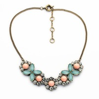 2014 Single Flower Stone Crystal Collar Necklace