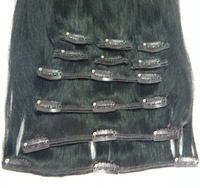 """Top Quality 18"""" 20'' 22"""" Black Color 120g/10pcs/set Full Set Straight 100% Human Indian Remy Hair Clip in Hair Extensions"""