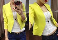 Women's Fashion Korea Candy Color Solid Slim Suit Blazer Coat Jacket casual women blazer coat jacket