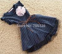 wholesale New Fashion Top Quality Dark Blue Short Sleeve Dots Stripe Flower Kids Girl Dress with Belt Summer Dresses 5pcs/lot