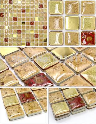 cáqui e cerâmica folha de ouro telhas de metal mosaico mistos vermelhos para cozinha backsplash sala de jantar azulejo da parede jardim do pátio(China (Mainland))