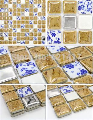 azul e branco da porcelana cáqui cerâmica telhas de metal mosaico mistos para chuveiro cozinha backsplash sala de jantar azulejo da parede do quarto(China (Mainland))