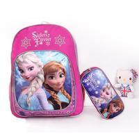 Hot 2014 new Frozen Printing Backpack School Bag Girls + Princess Pencil bag for Children Kids, 1833