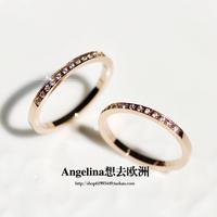 FREE SHIPPING~New Titanium Jewelry Fashion Korean Style 18k Rose Gold Plated Semi-Circle Shining Ring