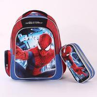 Hot 2014 new Spider Man Printing Backpack School Bag Boys + Cartoon Pencil bag for Children Kids, 1834