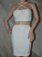 Free shipping 2014 WHITE STRETCH LACE TWO PIECE SET pencil two piece bandage Celebrity dress Party Evening Dresses  HL071