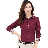 patchwork new 2014 spring auturn long-sleeve shirt Large size women shirt women's roupas femininas fashion blouse blusas