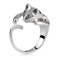 Sweet Jewelry Womens Cool Silver Plated Kitten Cute Cat Ring With Crystal Eyes AMR004