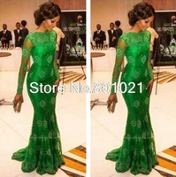 Elegant Hot Sale Green Long Sleeves Lace Mermaid Formal Evening Gowns Prom Dresses 2015 Miss Nigeria Celebrity Inspired Dress