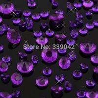 1000 pcs/lot Purple 4.5mm 1/3 Carat Acrylic Diamond Confetti Wedding Table Diamond Confetti Wedding Table Decoration