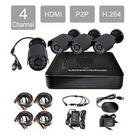 P2P HDMI 4-Channel H.264 DVR KIT + 4x420TVL Weatherproof IR Camera CCTV Security System