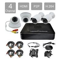 P2P HDMI 4-Channel H.264 DVR KIT 4x420TVL IR Dome Camera + IR Waterproof Camera CCTV Security System