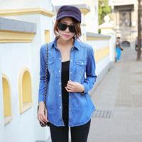 brand 2014 summer new European and American women's long-sleeved camouflage shirt jacket lapel women coat