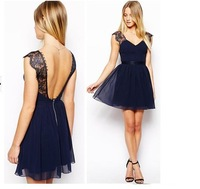 The new summer dress sexy backless chiffon dress in Europe and America Cultivate one's morality skirt with shoulder-straps