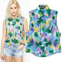 brand 2014  new European and American summer vacation wind palm tree print sleeveless shirt lapel vest female