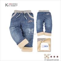 wholesale children's clothing KK Rabbit brand   children's plus velvet warm  jeans pants trousers  SL1042