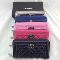 In the summer of 2014, the latest version, tide women's long purse, sheepskin hand bag, small perfume package